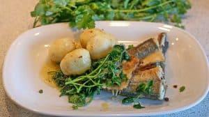 1.野菜と一緒にお皿に盛られた魚