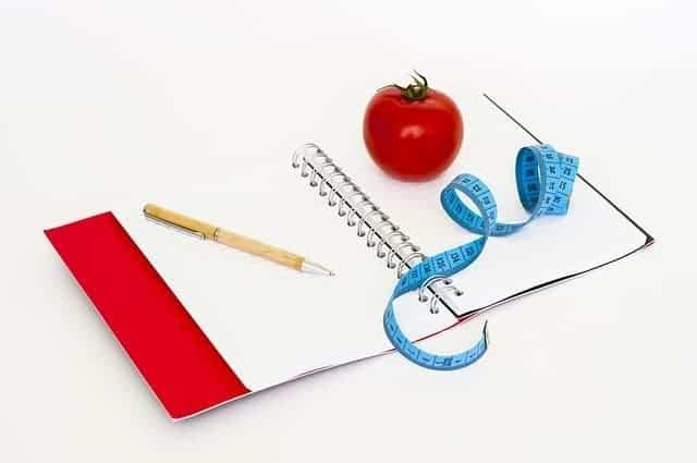 ノート、ペン、メジャー、トマト