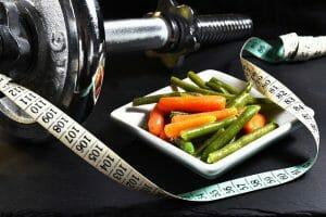 ダンベル、メジャー、野菜、痩身