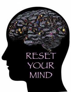 頭部、脳の輪郭、碑文を示すイラスト:心をリセットする